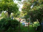 vue de l'intérieur de la véranda l'été