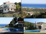 Comfortable privacy villa,enchanting sea and village view, several terraces, large pool, bbq area.