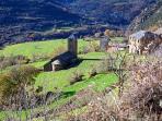 La iglesia románica de Surp, del románico siglo XII, sus paredes explican su historia.