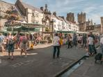Wells Market with the magnificent Cathedral in the background.