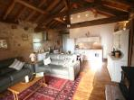 Barn vaulted open plan lounge / dining area and well equipped kitchen