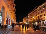 Enjoy the nightlife on Aristotelous Square,right next to the apt