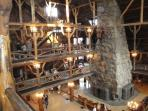 View of the Inside of Old Faithful Lodge In Yellowstone Park