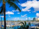 View from this condo of the Yacht Harbor to Ala Moana Park
