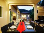 Outdoor dining for 8 with gas BBQ and plenty of seating