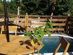terrasse avec jacuzzi F2 hibiscus/ Azur