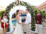 wedding vows by the swimming pool