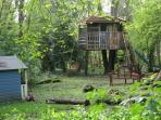Treehouse and play in Bluebell Wood