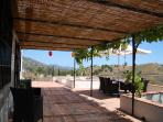 The terrace with beautiful view over the hills