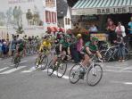 The Tour de France passing through Sainte Marie de Campan as it climbs up to the Col du Tourmalet