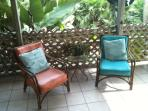 Our back porch is lush, breezy & shady.