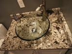 Vessel sink with granite