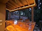 Outdoor bar made of natural timber
