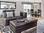 Living Room Leather Modular Sectional - Unwind with Huge Cable Pkg, Netflix, Hula