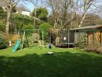 Swing, slide and trampoline for younger guests to enjoy.