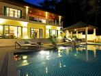 Beautiful Sunstone Villa by night with ambient lighting so the villa can be enjoyed all day & night