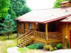 Big Bear Retreat - Nature Surrounds This Centrally Located Log Cabin with Large Yard and Picnic Table, Screened Porch, View, Wi-Fi, and Wood Burning Fireplace