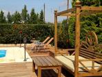 Comfortable modern garden furniture by the villa