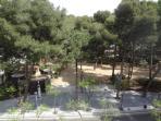 Parque Municipal de Salou, delante edificio Amatista. Con parque infantil, estanque, peces y plantas