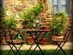 Summer alfresco dining, Tuscany food