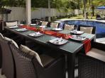 Poolside Sala with large dining table for Al Fresco dining or poolside BBQs