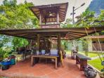 A gazebo adjacent to the main pavillion is where you will find the cooker, fridges & prep area.