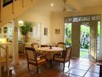 Dining Area with Front Door and View to Garden and Family Temple.
