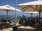 RELAX WITH A FRAPPACINO AT THE COFFEE BAR AT PARALIMNI FISHERMANS SHELTER MINUTES FROM THE APARTMENT