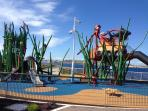 Cafe del Mar, National Aquarium, play areas 400metres from our apartment.