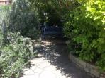 shady seat in garden
