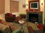 living room with sofa sleeper for 2 and fireplace,