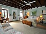 The green master bedroom