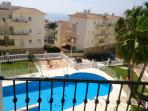 Spectacular view of Med + adult pool from balcony