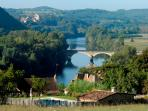 The view over the Dordogne river from the pool