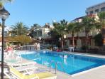Pleasant atmosphere by the pool at the club, free Wi-Fi available by the pool.