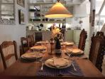 Dining indoors for 8 people