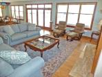 Newly remodeled living room with views of Barnegat Bay