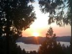 Sunset view of Lake Arrowhead from the deck!