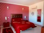 King size bedroom with built in wardrobes, veranda and Sky TV