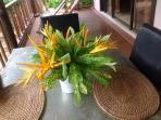 Fresh flowers in your villa