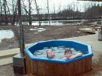 A hot outdoor pool can also be used in the wintertime