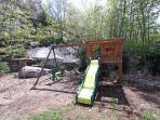 swingset in backyard