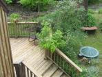 12 x 24 back deck as seen from balcony. Creek bed is just beyond at top of photo.
