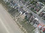 aerial view; we in the middle with the fenced in yard