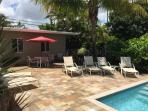 Pool Area has both sunny and shady areas