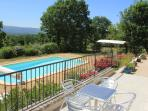 breakfast on your terrace over looking the garden, pool & Luberon