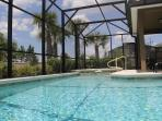 Private South facing swimming pool overlooking a conservation area