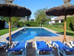 Large fenced and landscaped pool private to Finca Retama Farmstead