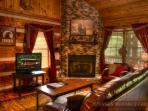 Beautiful gas fireplace and tv