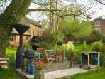 BBQ area in the rear garden